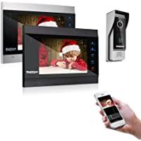 TMEZON 1080P Wifi IP Vidéo Interphone Visiophone, 7'' IP Moniteur, Caméra